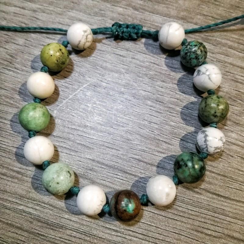 Bracelet Calme & Protection en Howlite et Turquoise