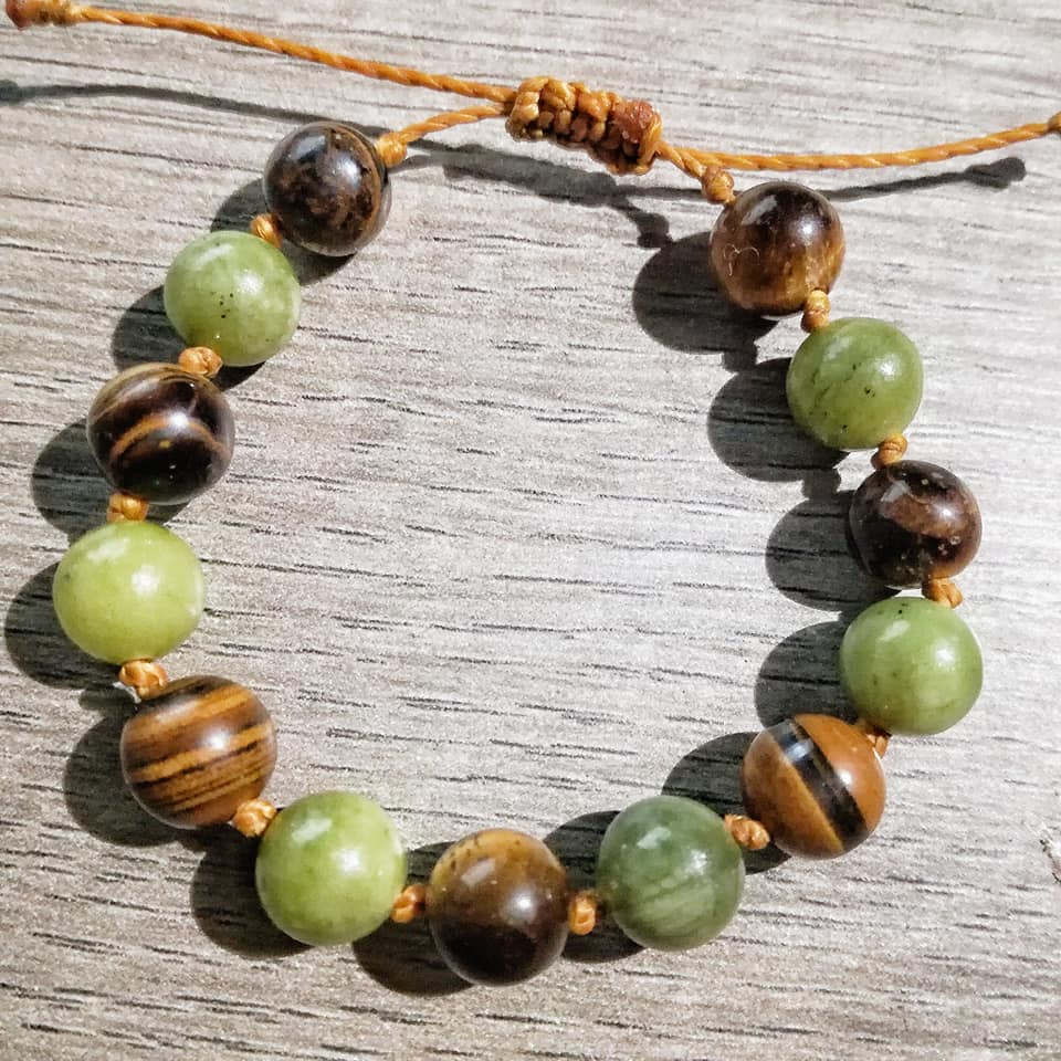 Bracelet Santé & Protection en Jade et Oeil de tigre