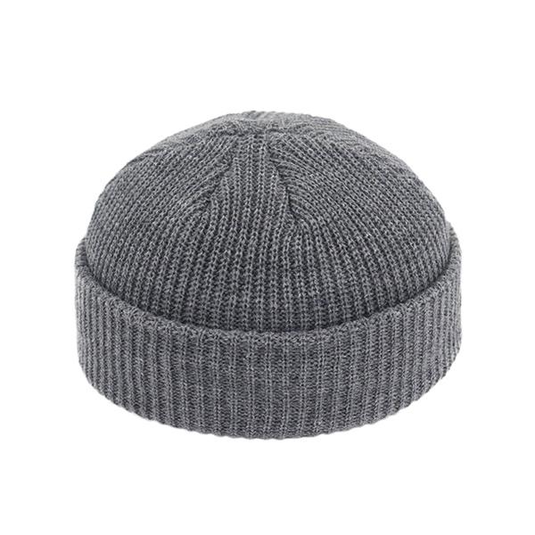 Unisexe-hiver-c-tel-tricot-revers-court-acrylique-Melon-casquette-d-contract-couleur-unie-Skullcap-Baggy