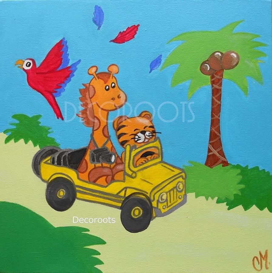 Tableau b b girafe et b b tigre collection jungle - Tableau chambre bebe garcon ...