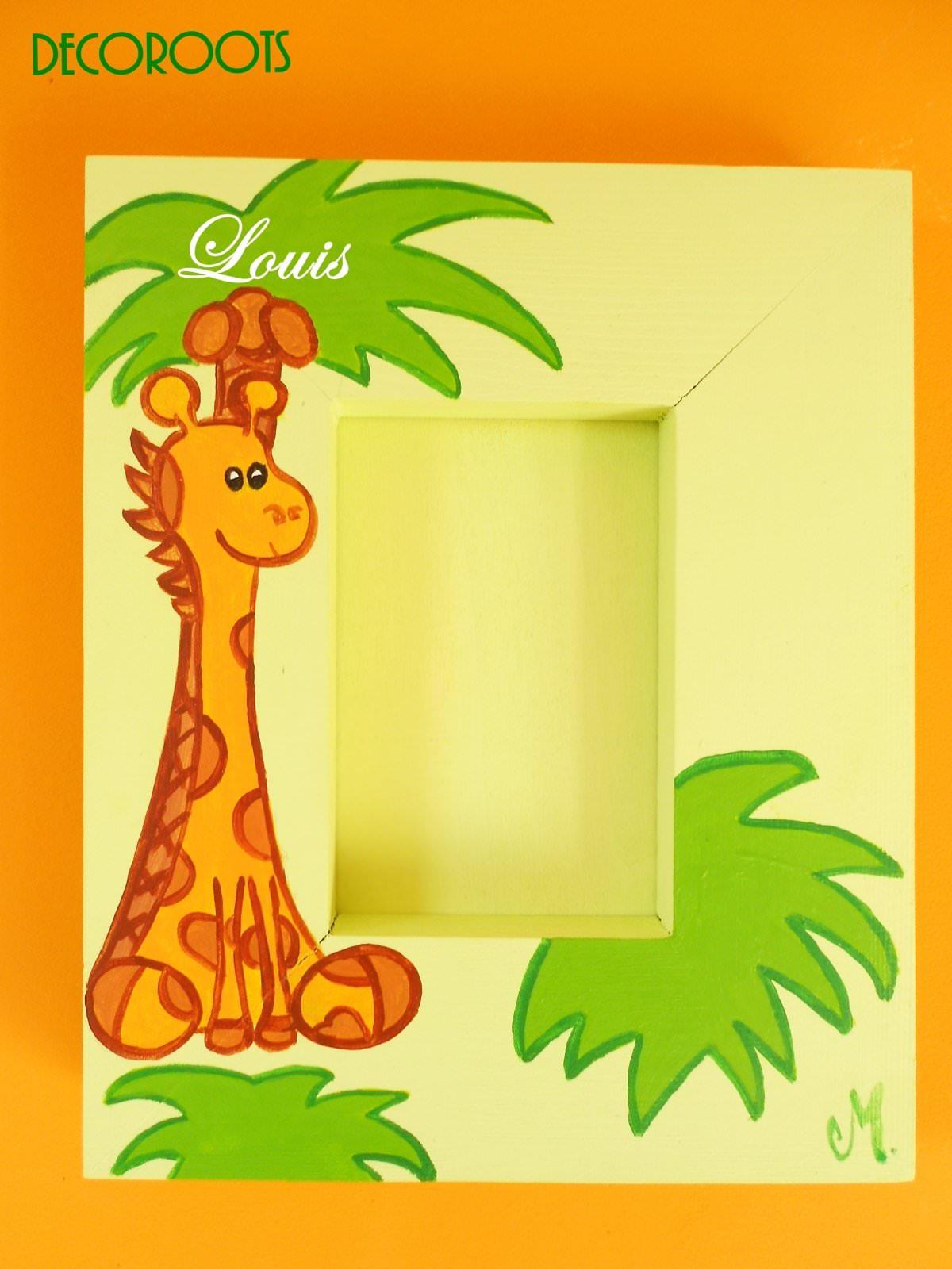 cadre enfant bébé girafe boit peint à la main thème jungle safari