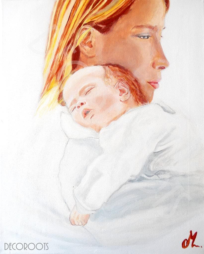 Tableau mère et son enfant bébé