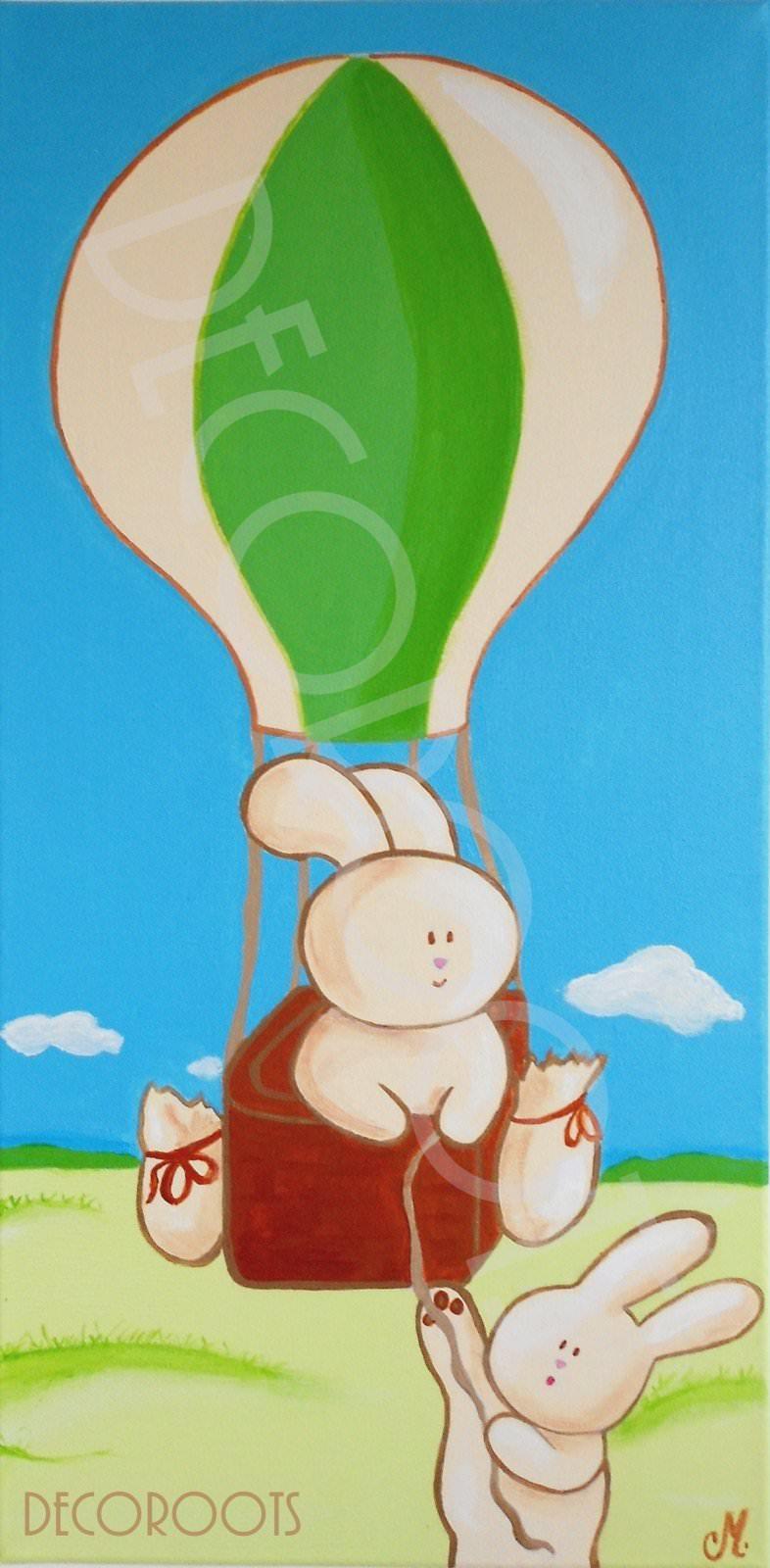 tableau enfant bébé lapin en montgolfière 2