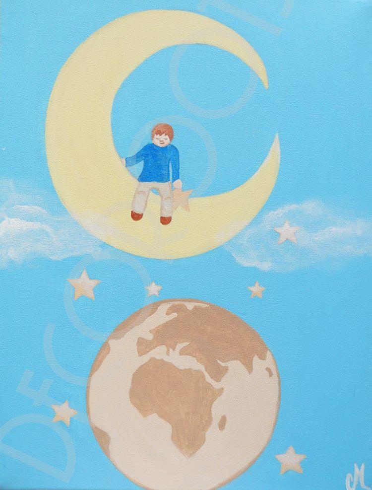 Tableau enfant de la terre la lune d coration - Tableau chambre bebe garcon ...