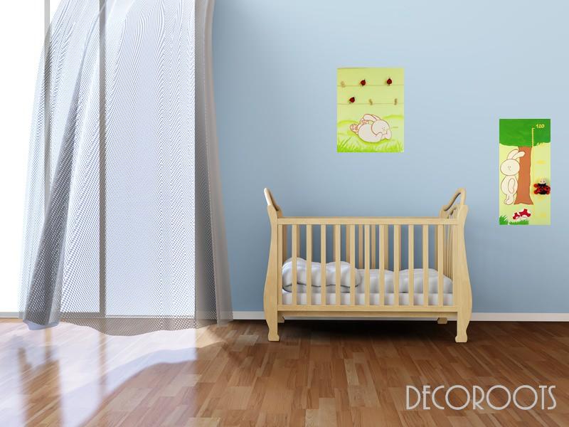 toise enfant b b nature lapin beige et vert d coration chambre enfant b b objet d coratif. Black Bedroom Furniture Sets. Home Design Ideas