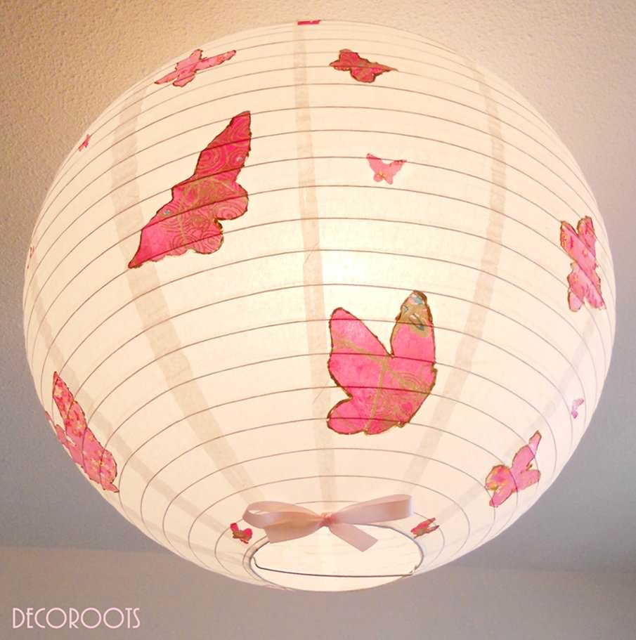 Formidable Decoration De Chambre D Ado #5: Lampe-suspension-abat-jour-lustre-envol-de-papillons-rose-2.jpeg