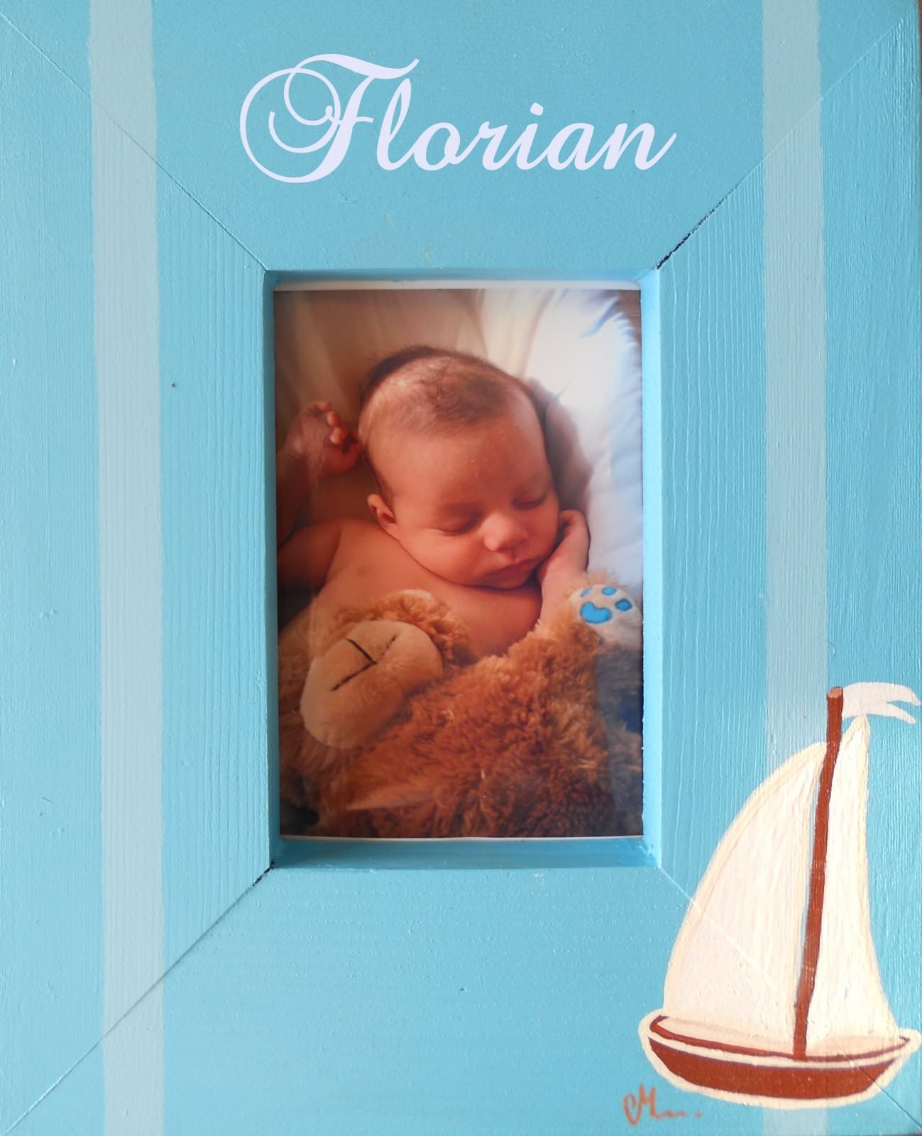 cadre photo en bois thème bord de mer décoration enfant bébé voilier bateau bleu rayure