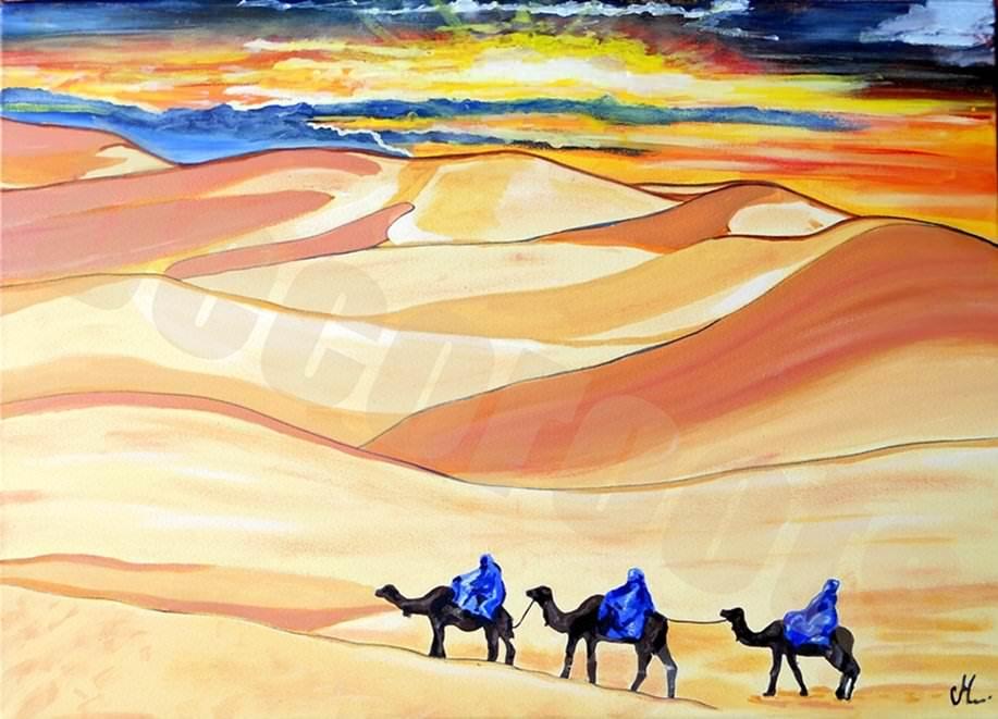 tableau ethnique désert coucher de soleil caravane de touareg
