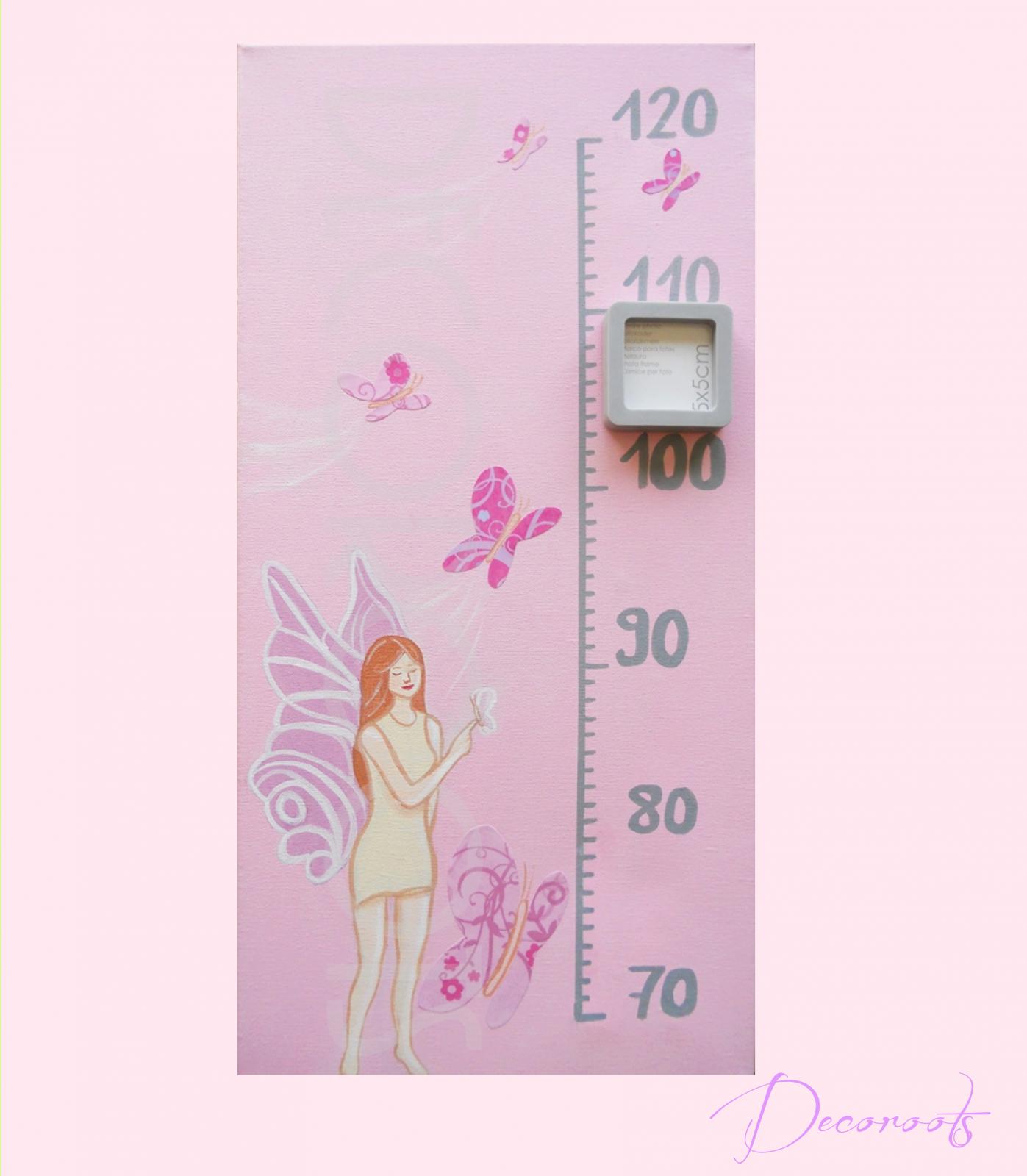 Toise enfant bébé fille envol de papillons collection les fées papillons rose violet parme fuschia  décoration
