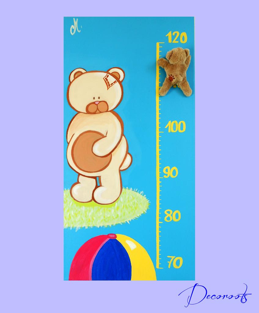 Toise enfant bébé thème ours bleu ballon peluche garçon bleu et beige