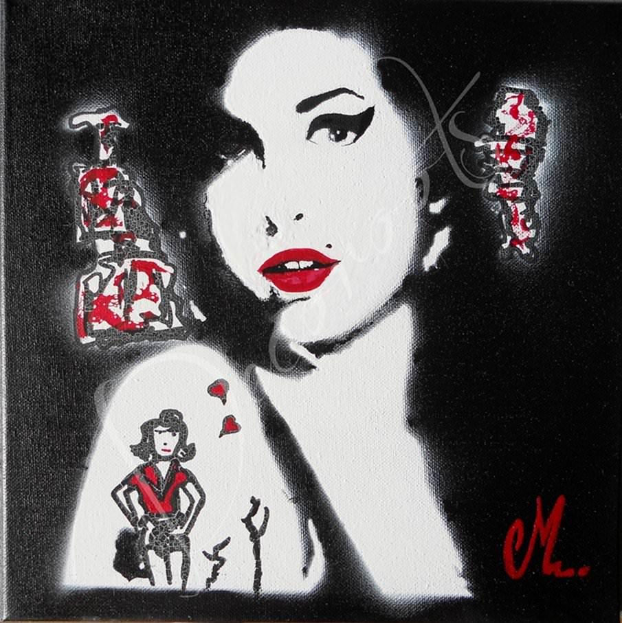 Pin tableau design pop portrait amy winehouse noir et for Tableau noir et blanc