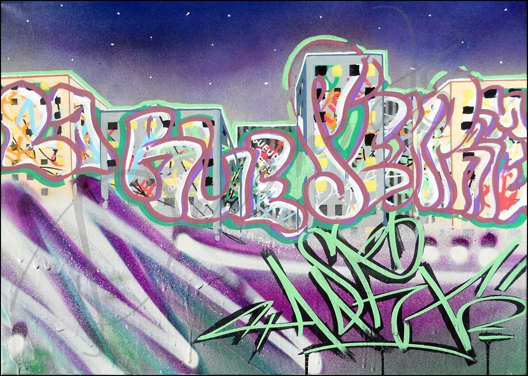 tableau design urbain graffiti rue violet vert ciel étoilé building gratte ciel F