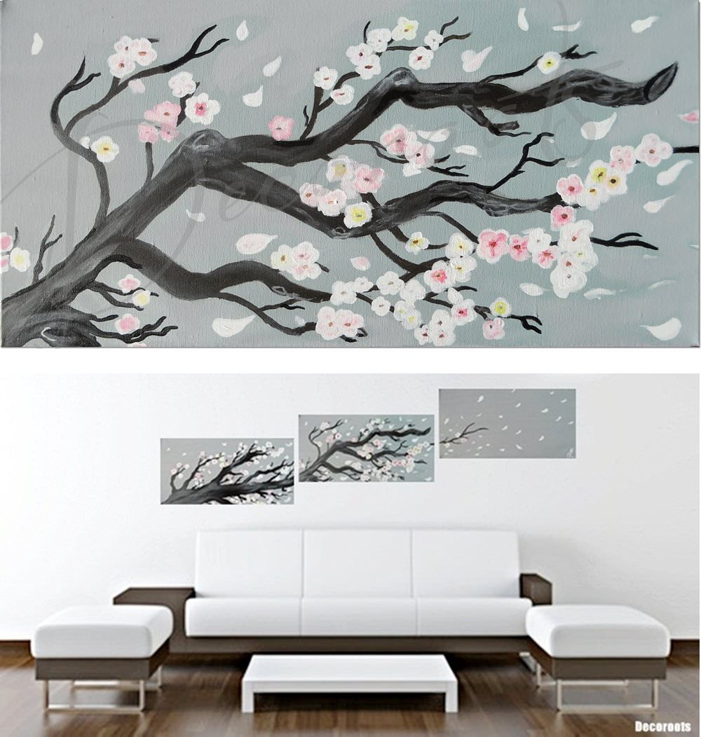 Tableau cerisier en fleurs peint la main - Tableau gris et blanc ...