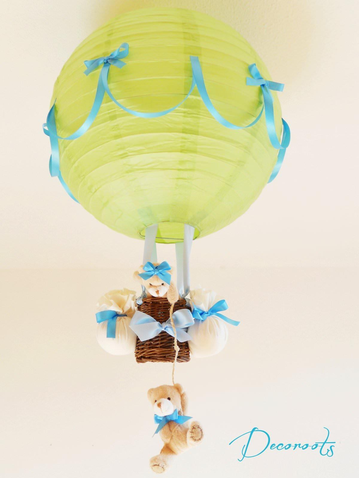lampe montgolfière enfant bébé ours turquoise vert