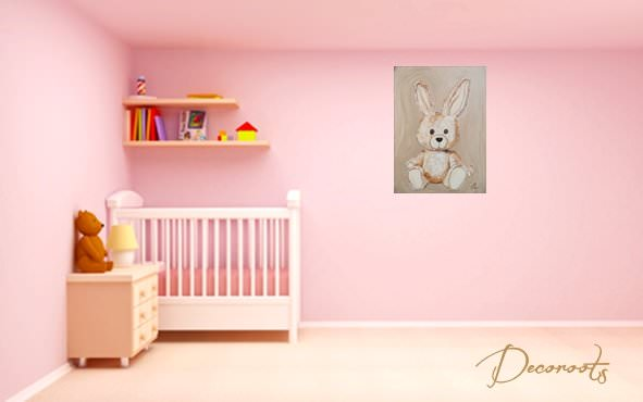 Tableau esth ban le lapin personnalisable enfant b b for Chambre bebe fille taupe et rose