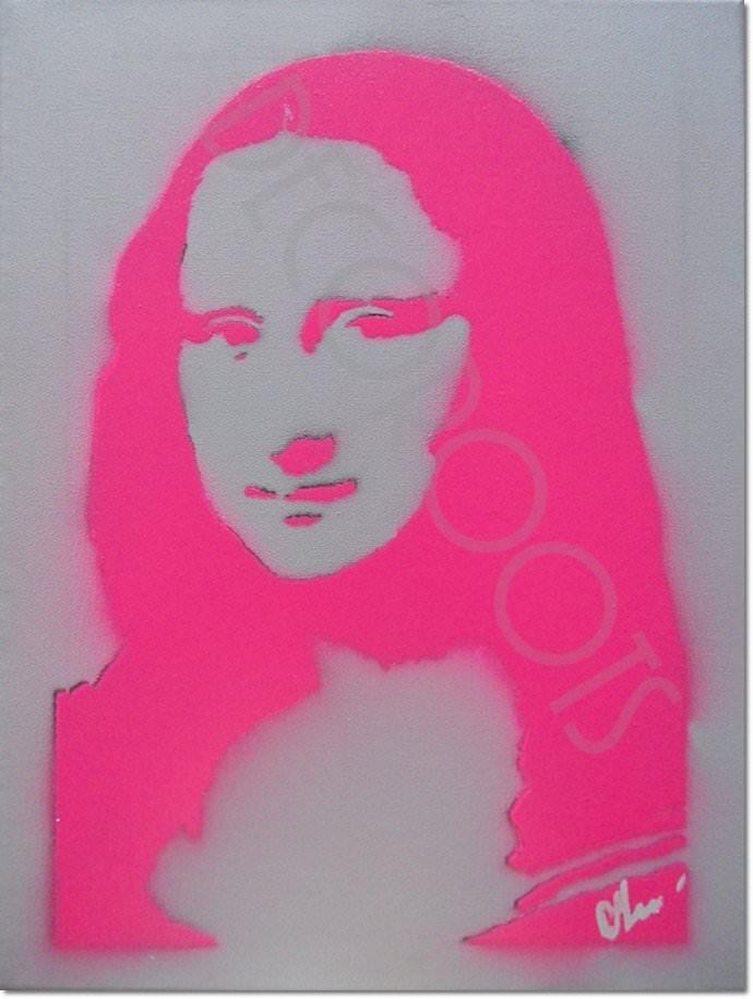 tableau design pop portrait la joconde mona lisa ROSE FLUO