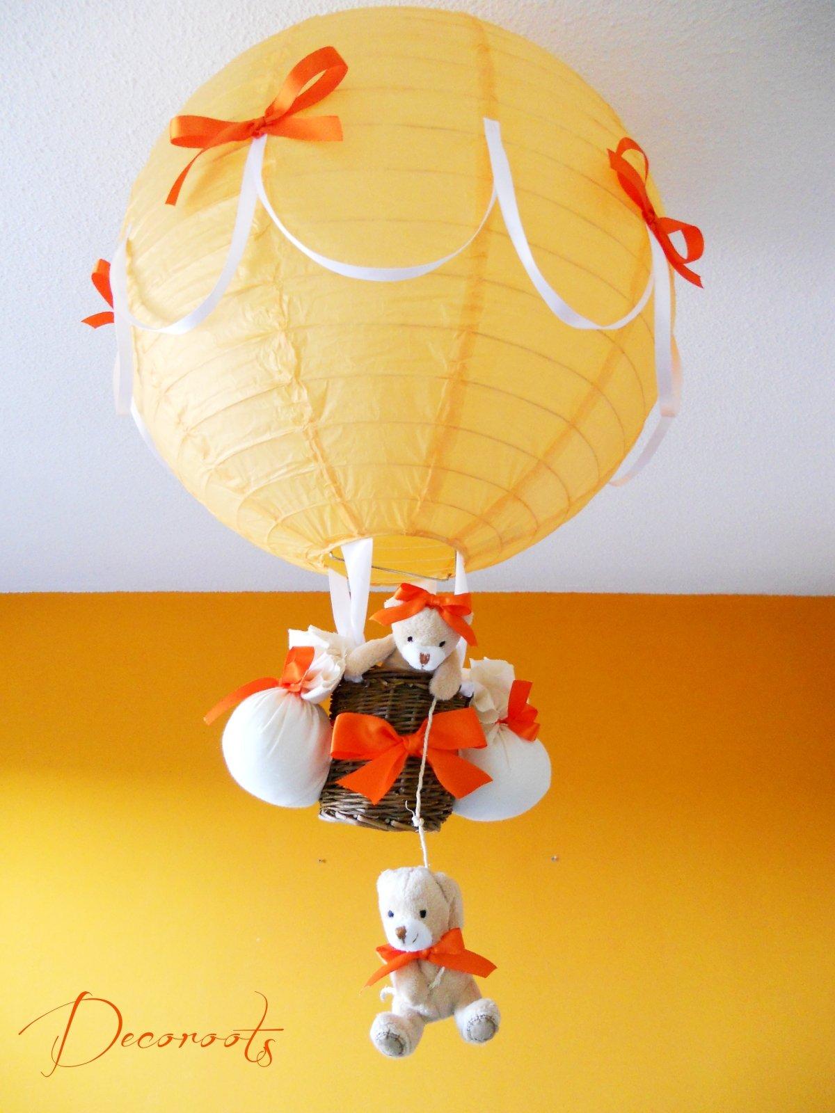 lampe montgolfière enfant bébé ours orange beige blanc