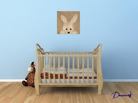 Tableau enfant bébé Esthéban le lapin en peluche collection jouets d ...