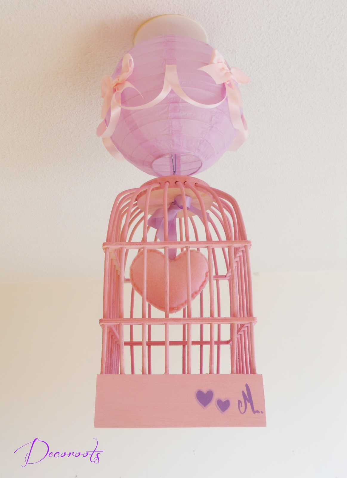 Lustre Suspension Fille Cage Petit Coeur Rose Et Parme