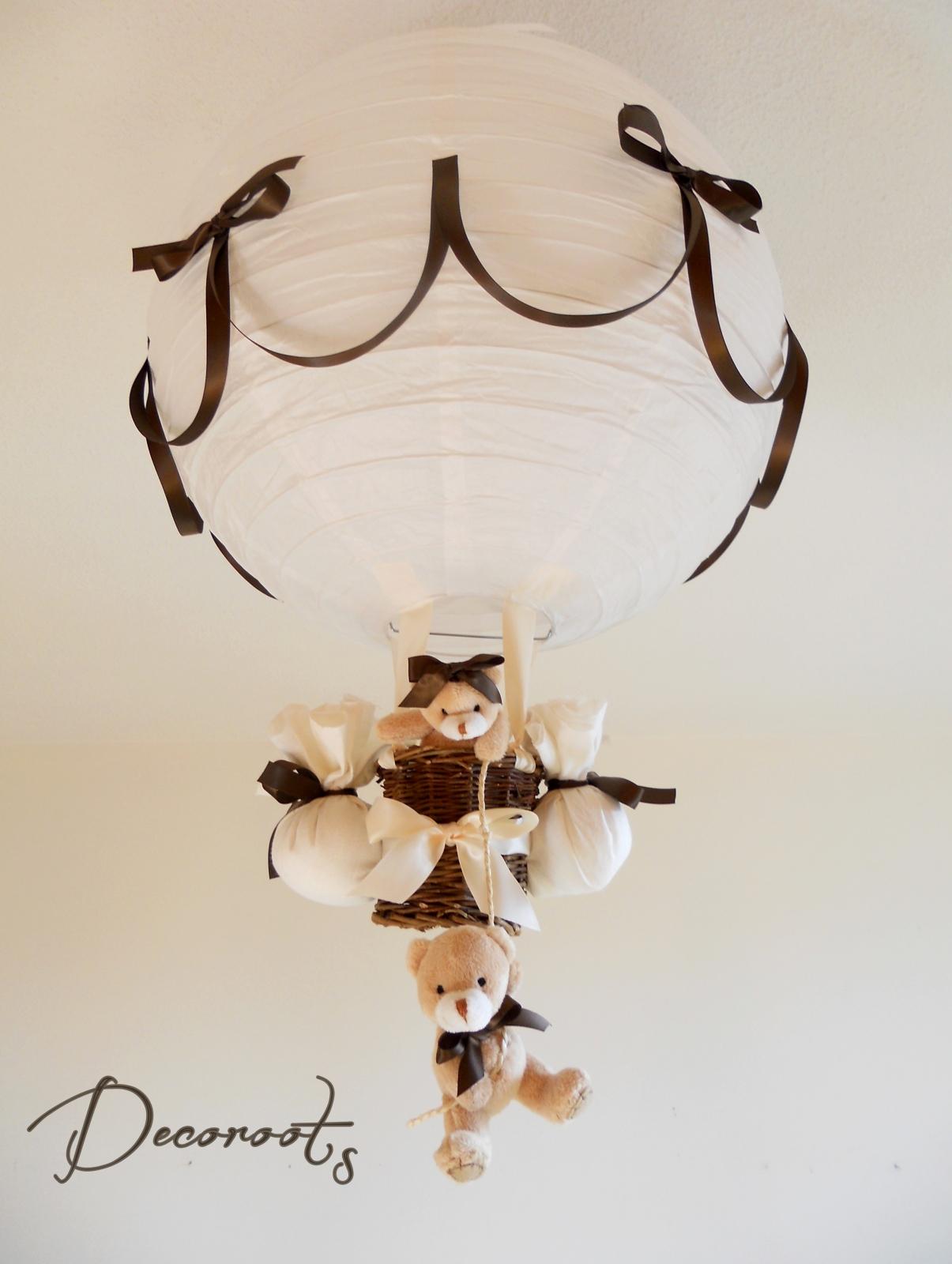lampe montgolfière enfant marron chocolat blanc beige