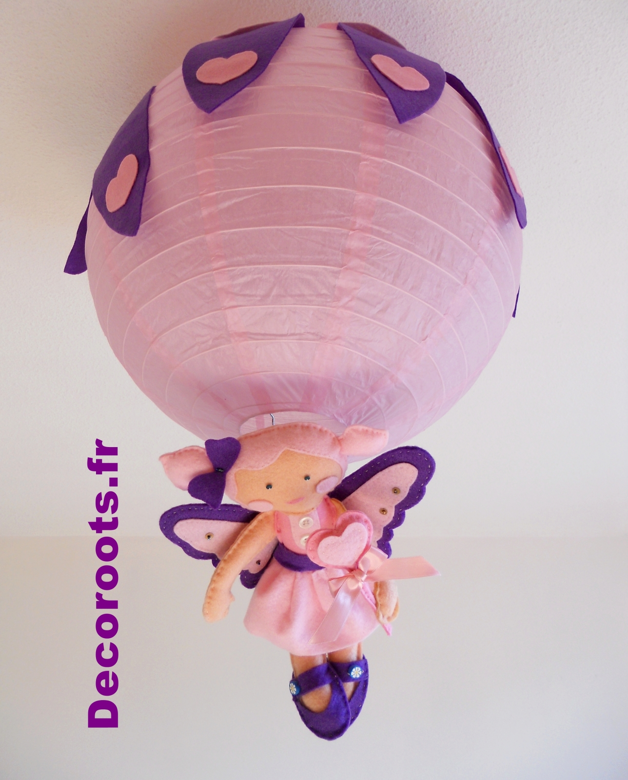 lustre suspension fille fée rose violet