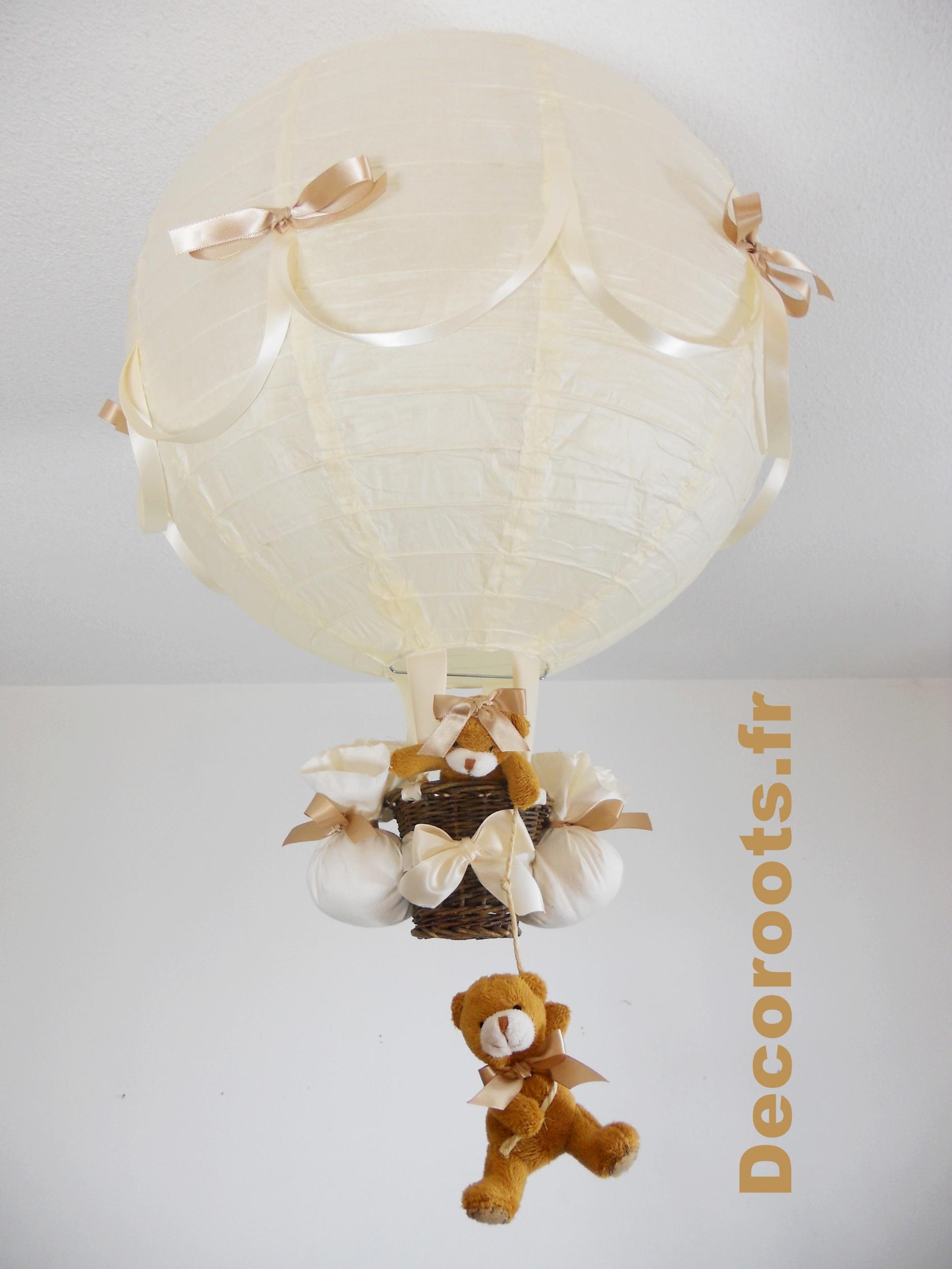 lampe montgolfière ours beige noisette mixte