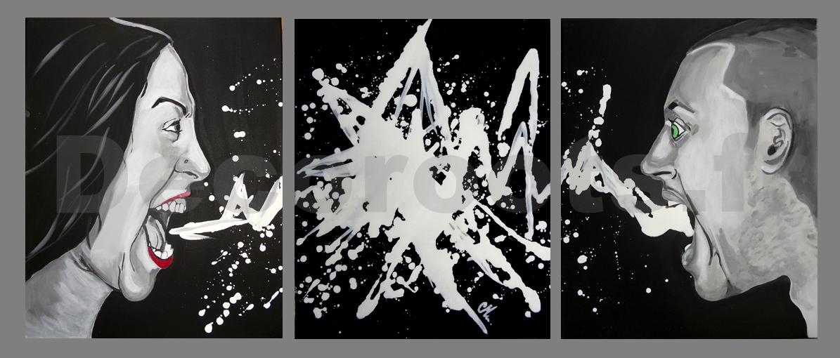 tableau deco design contemporain noir blanc colère sept pêchés capitaux 4