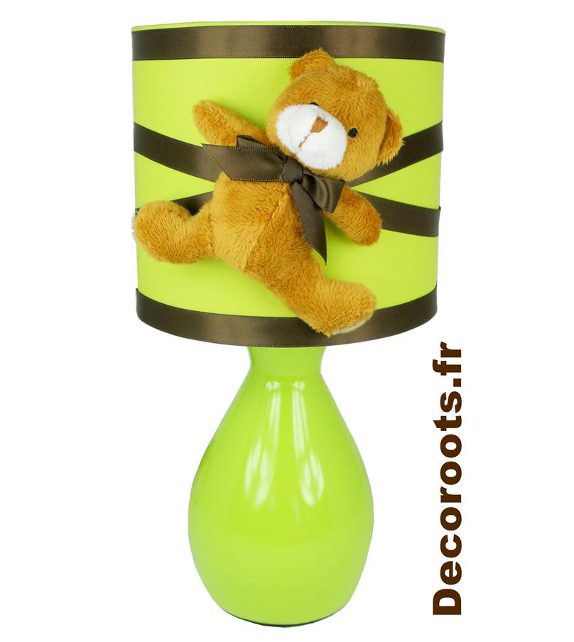 lampe de chevet enfant bébé ours thème forêt vert anis marron chocolat