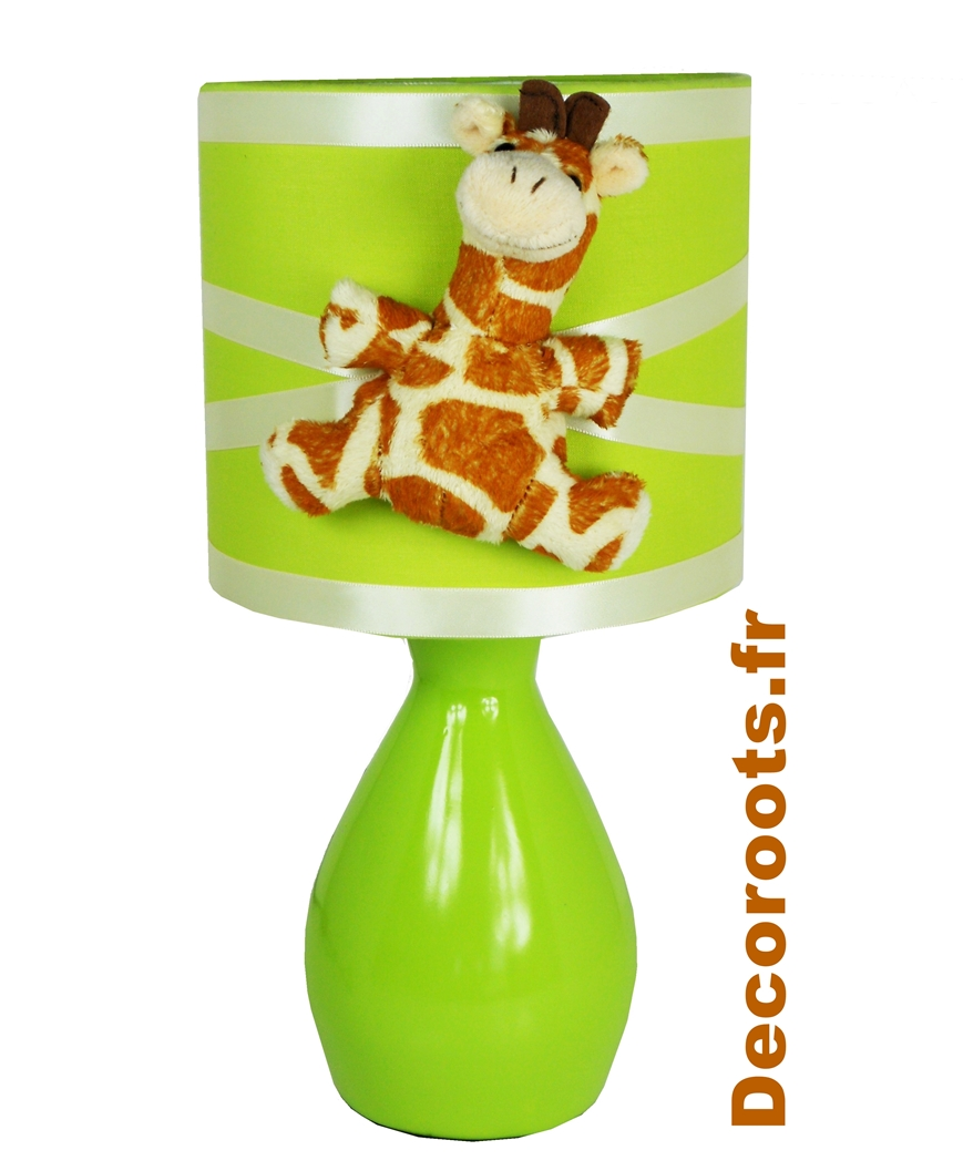 lampe de chevet jungle girafe vert anis et beige enfant b b luminaire enfant b b decoroots. Black Bedroom Furniture Sets. Home Design Ideas