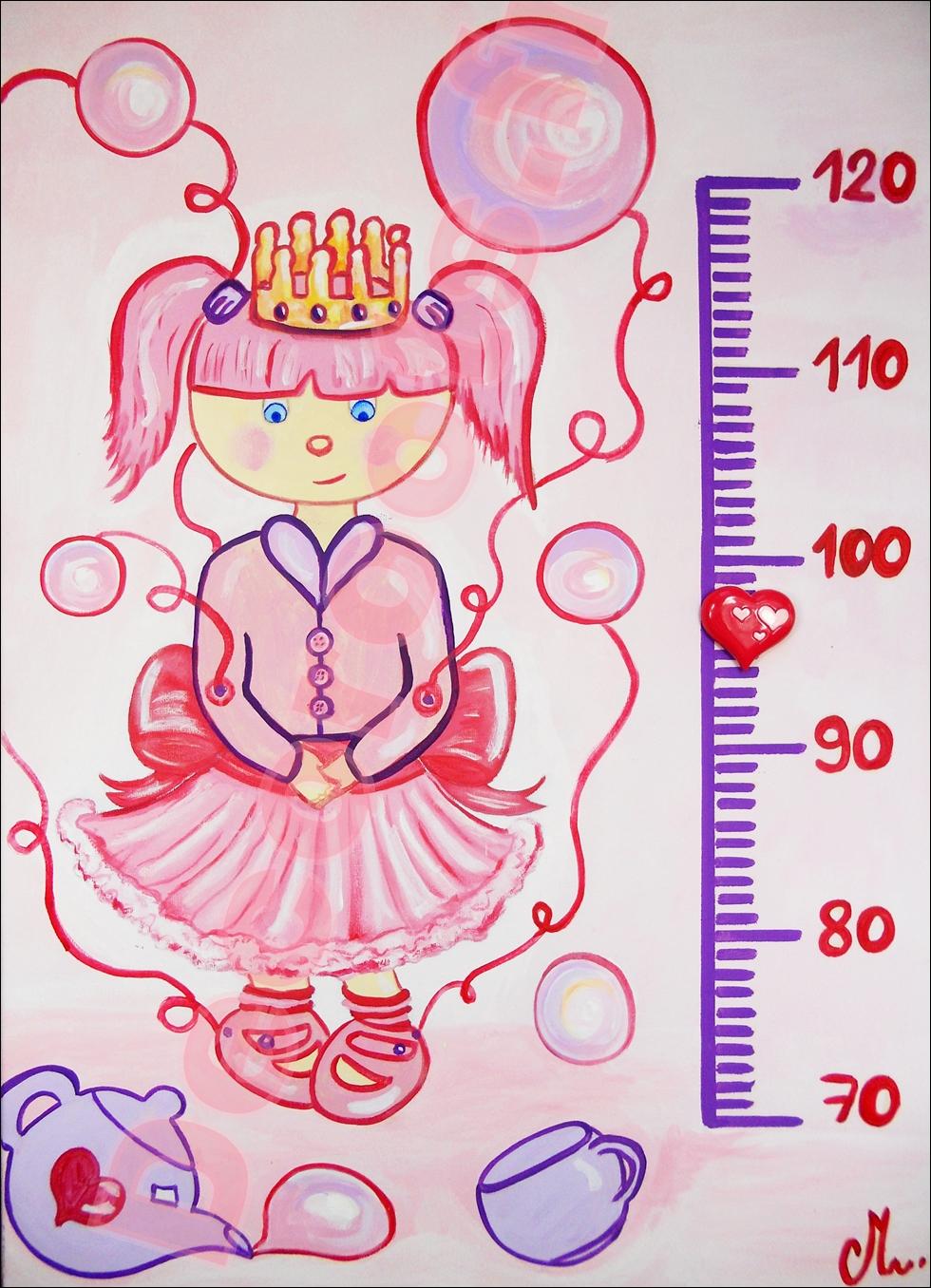 toise enfant bébé fille princesse poupée violet parme rose bulles fuschia pastel