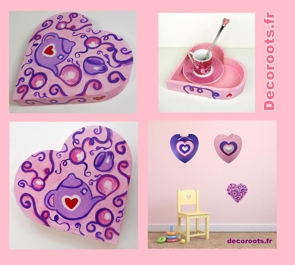plateau décoratif mural coeur theière violet rose 7