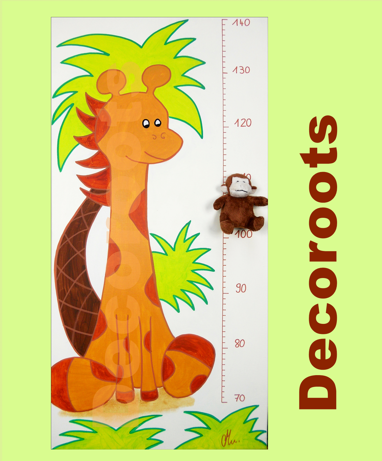toise-enfant-bebe-theme-jungle-girafe-et-elephant-peluche-beige-marron-chocolat-vert-anis-