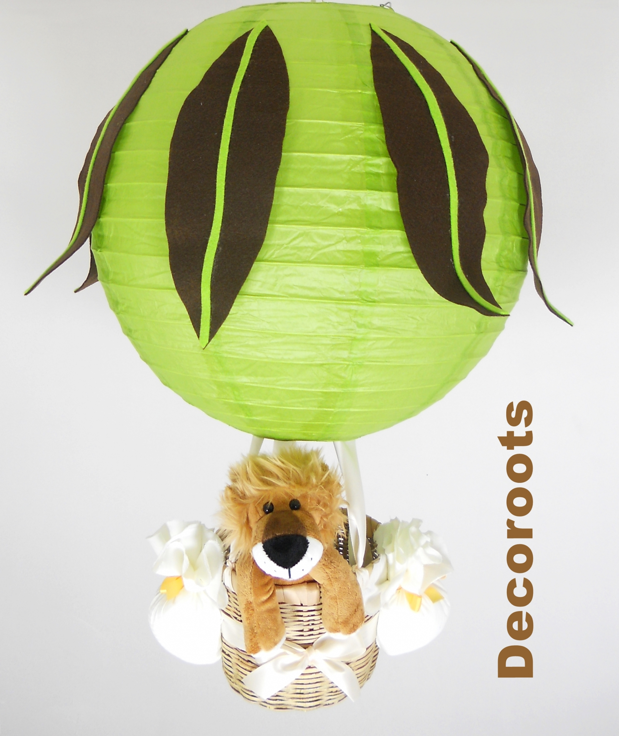 lampe montgolfière jungle lion vert anis marron chocolat