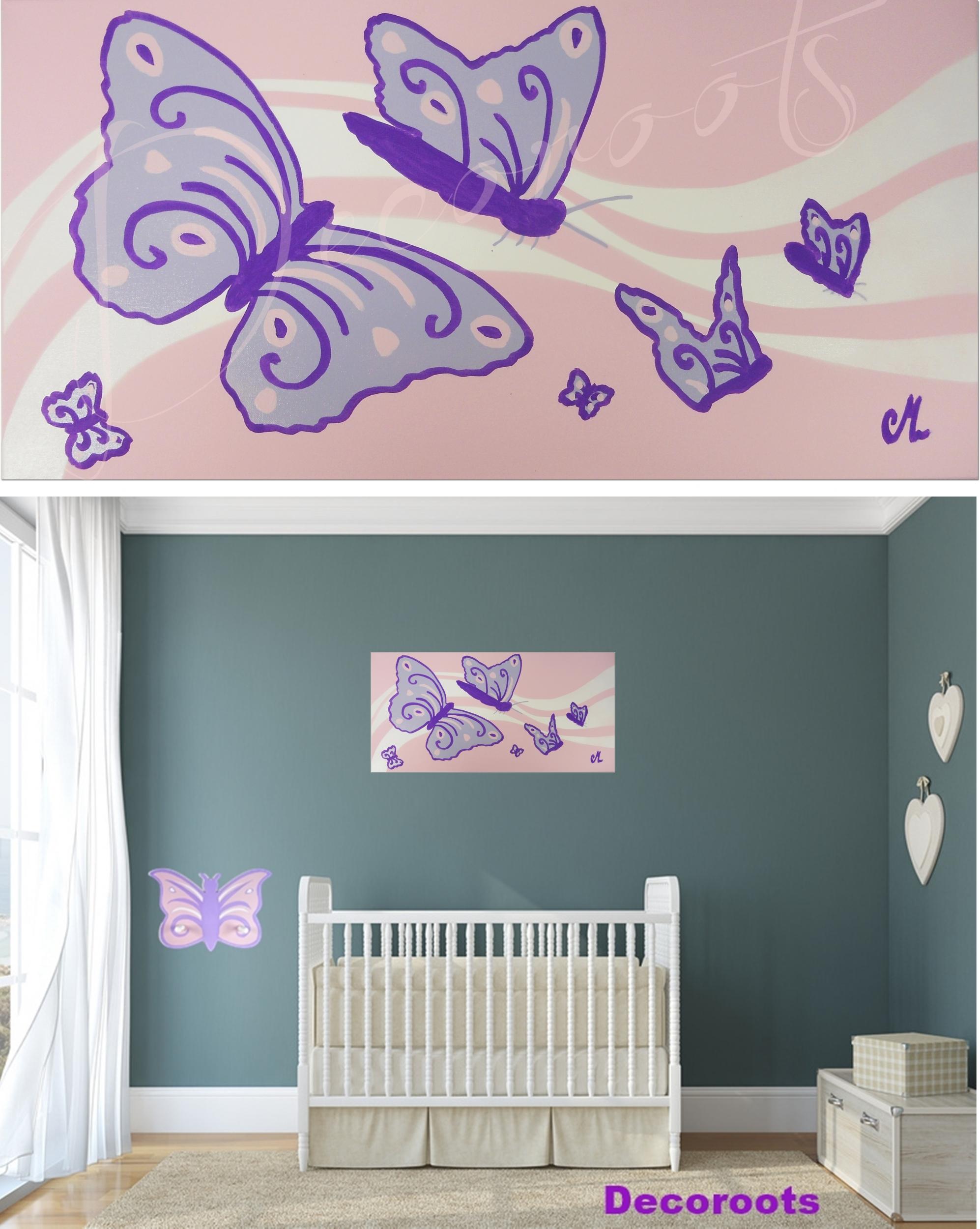 tableau enfant b b fille envol de papillons enfant b b tableau enfant b b decoroots. Black Bedroom Furniture Sets. Home Design Ideas