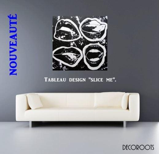 tableau design bouche noir et blanc art design contemporain tableau art design abstrait et. Black Bedroom Furniture Sets. Home Design Ideas