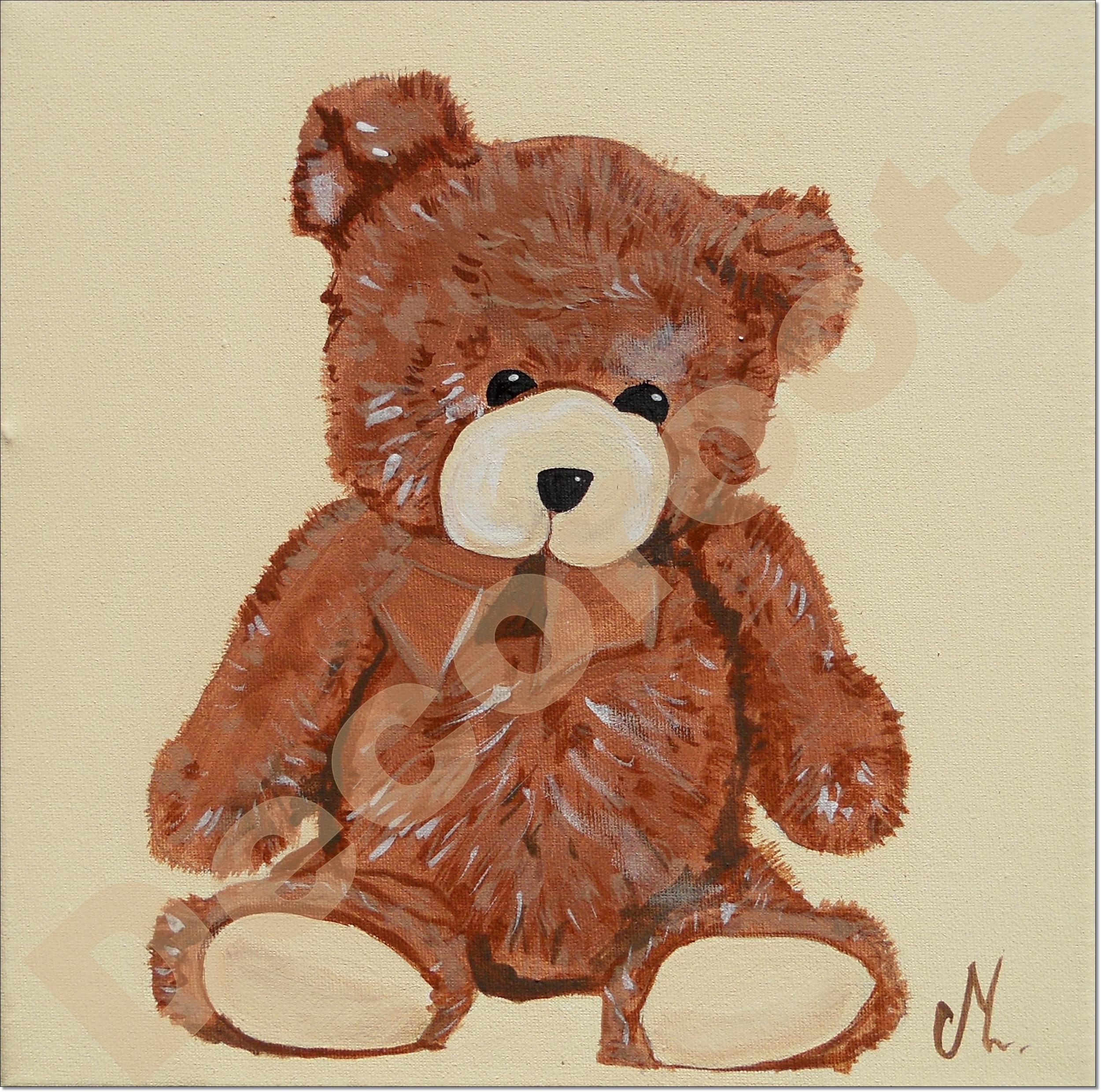 tableau enfant bébé ours beige marron chocolat 3 AF