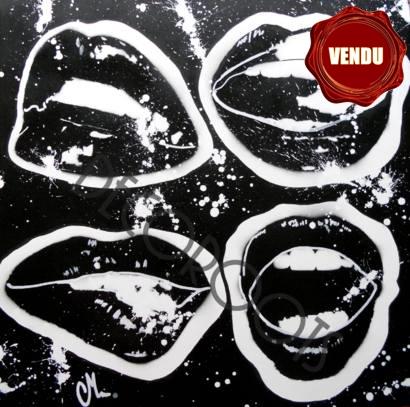 Tableau design bouche noir et blanc art design - Photo d art grand format ...