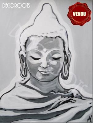 tableau-ethnique-zen-bouddha-noir-et-blanc-gris-peint-a-la-main