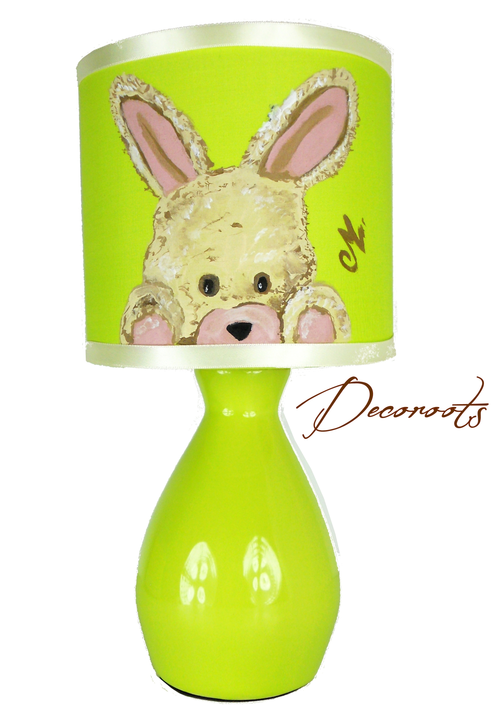 lampe de chevet lapin vert anis enfant b b luminaire. Black Bedroom Furniture Sets. Home Design Ideas