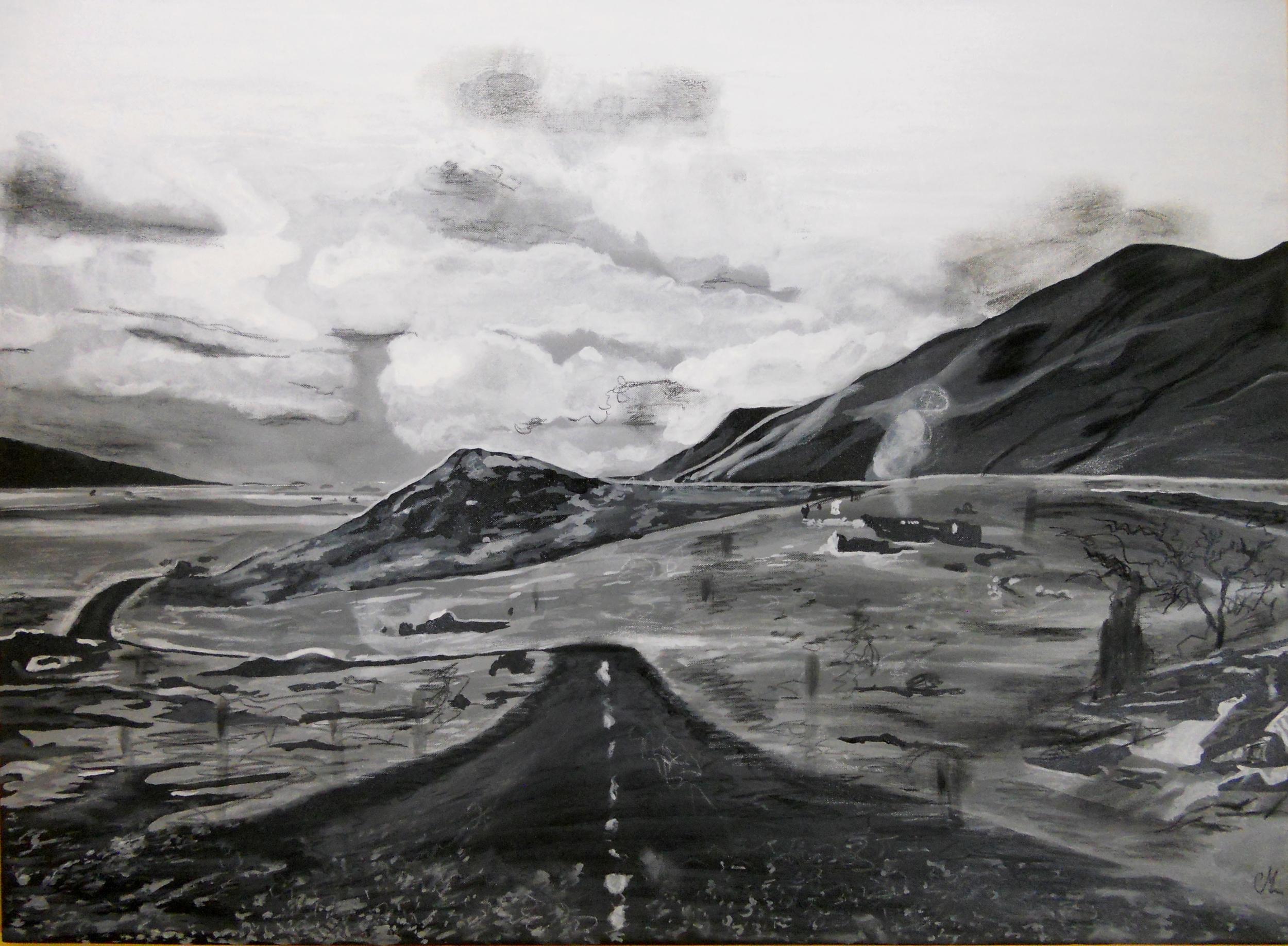 """Fabuleux Tableau contemporain paysage noir et blanc: """"ce qui a été et qui n  EH69"""