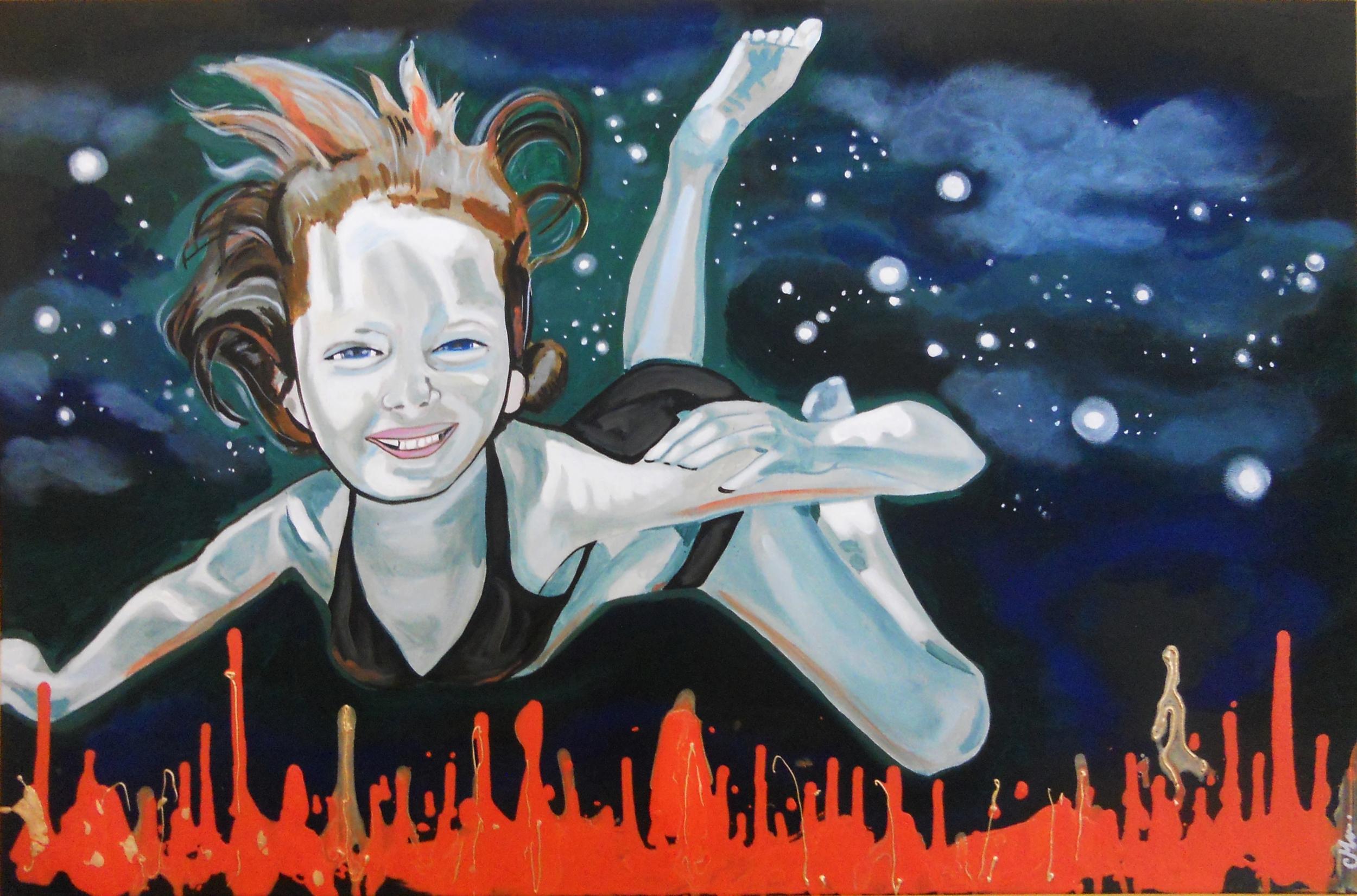 tableau art artiste contemporain surréalisme fille eau étoile bleu orange