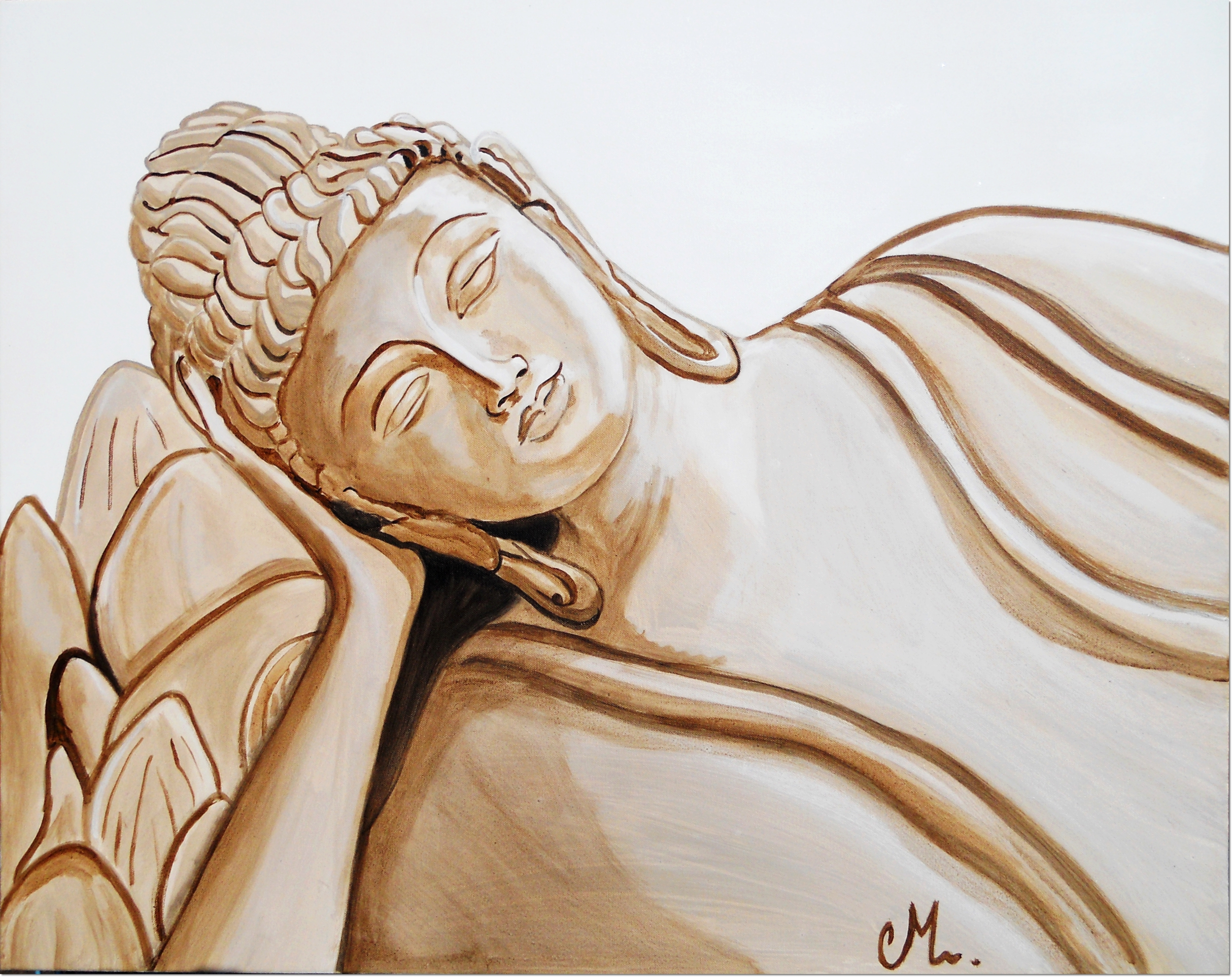 tableau bouddha zen grand format beige blanc taupe