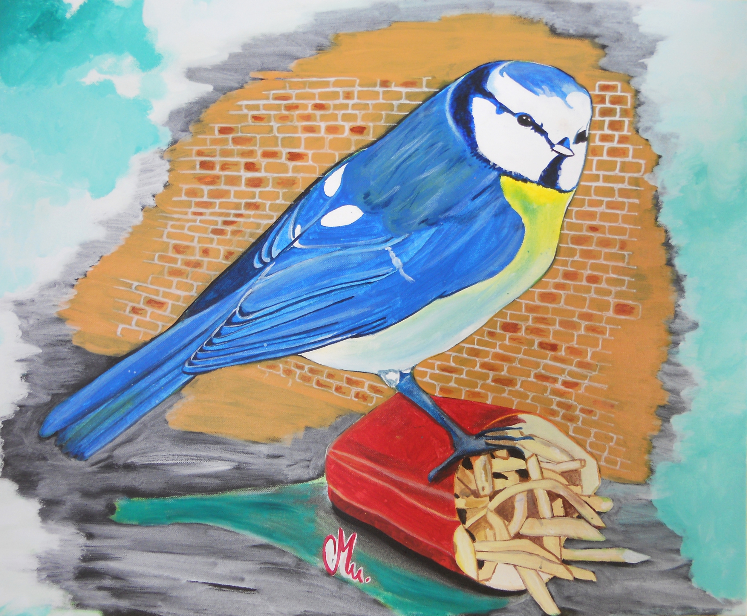 Tableau art contemporain nature l 39 oiseau bleu art for Tableau art contemporain