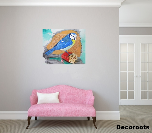 Tableau art contemporain nature l 39 oiseau bleu art for Peinture salon contemporain