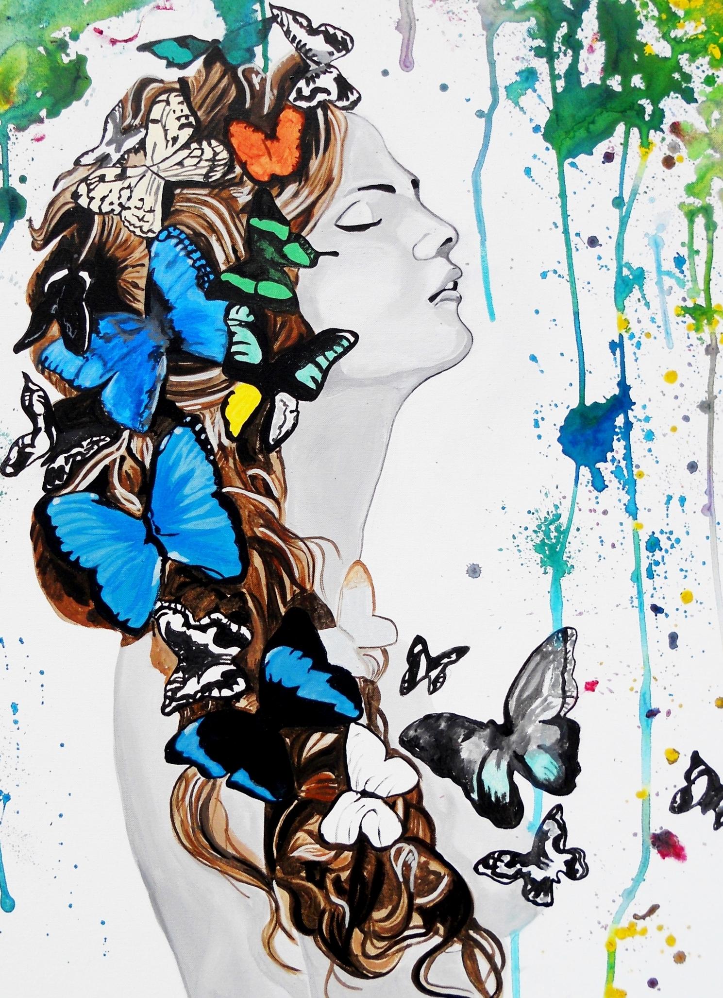 impression sur toile tableau toile sur chassis contemporain femme papillon eau