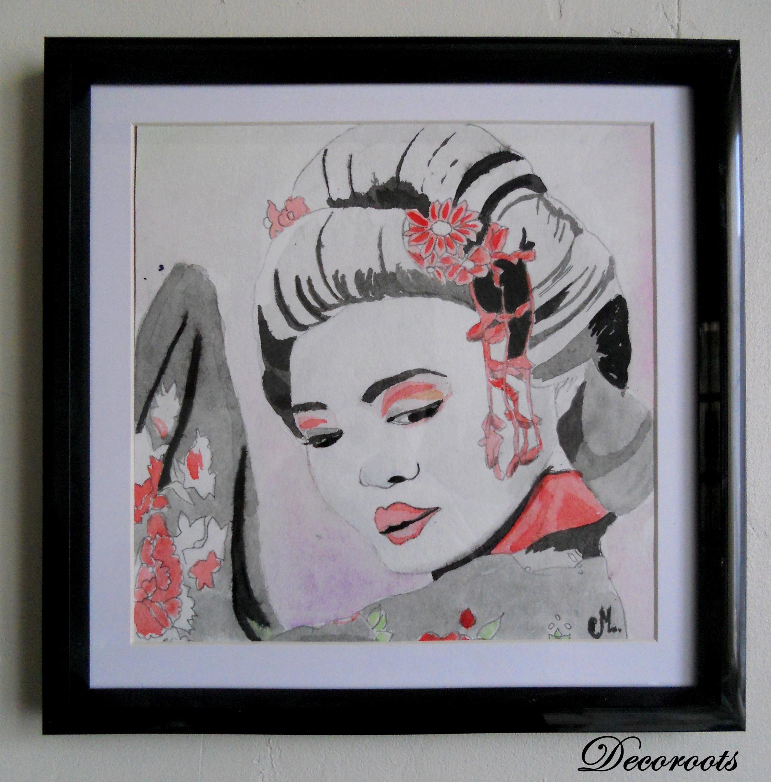 cadre déco aquarelle pinture geisha japon portrait femme noir rouge