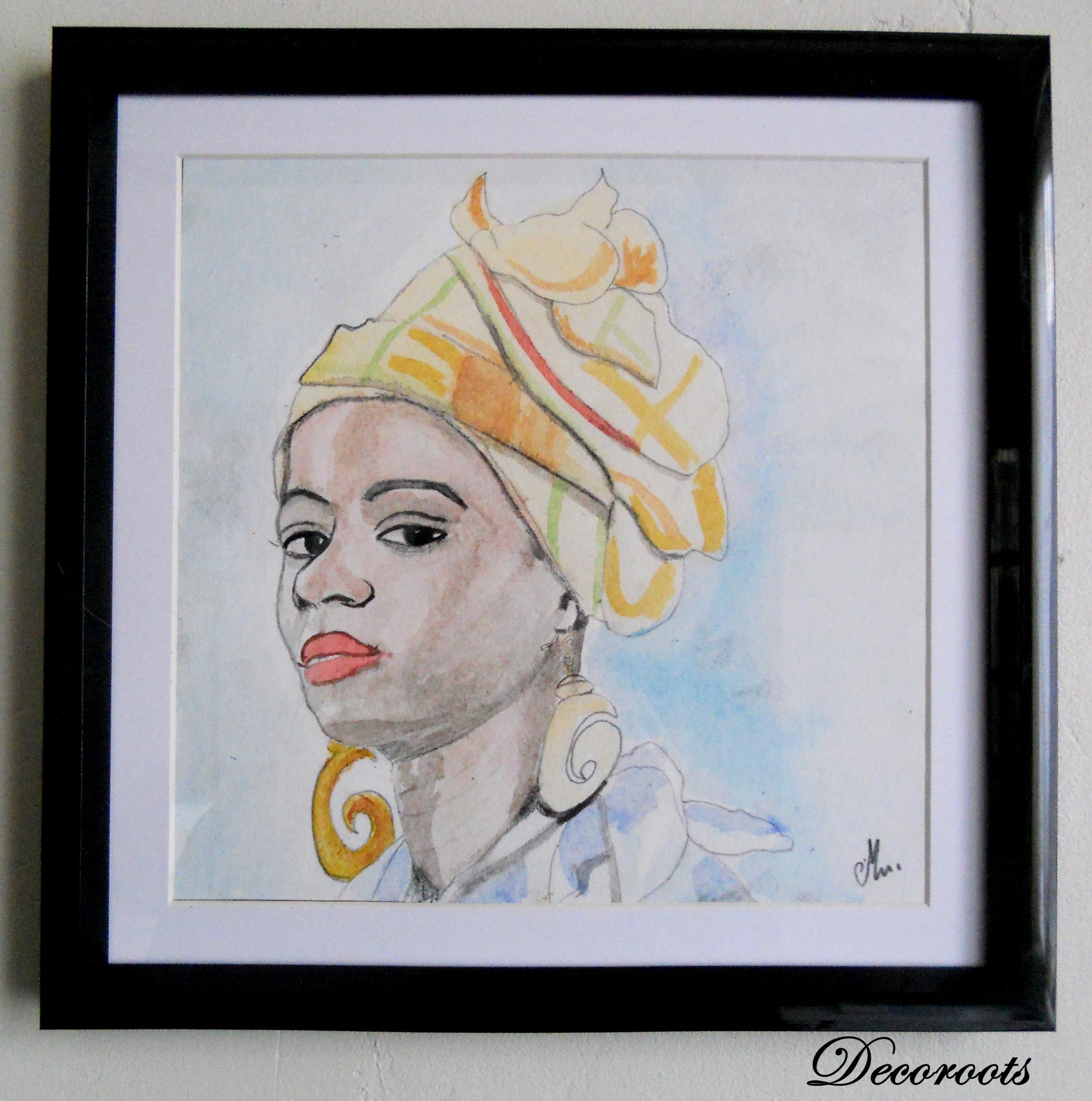 cadre déco aquarelle martiniquaise antillaise africaine décoration