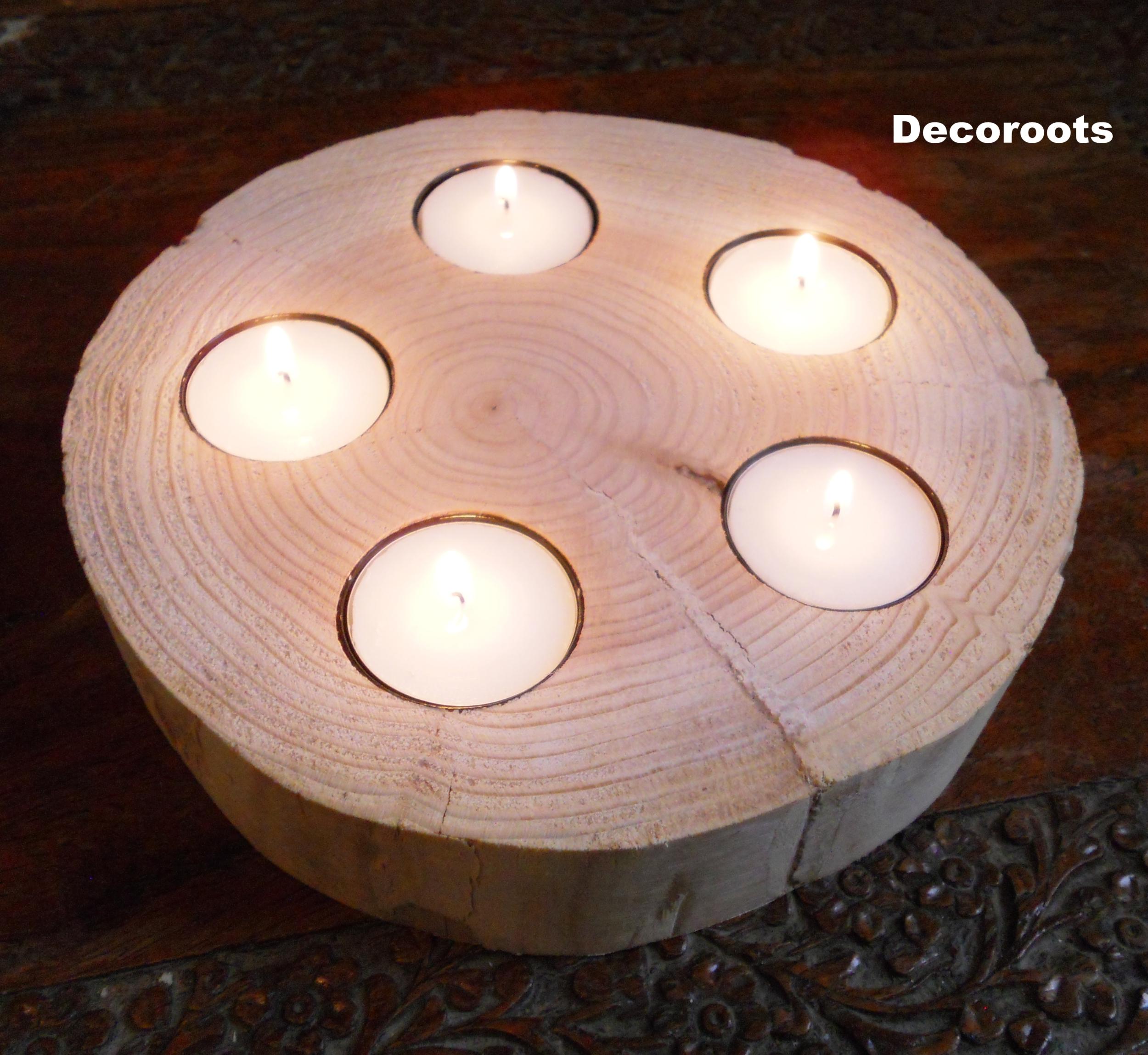 bougeoir zen tronc d'arbre bois