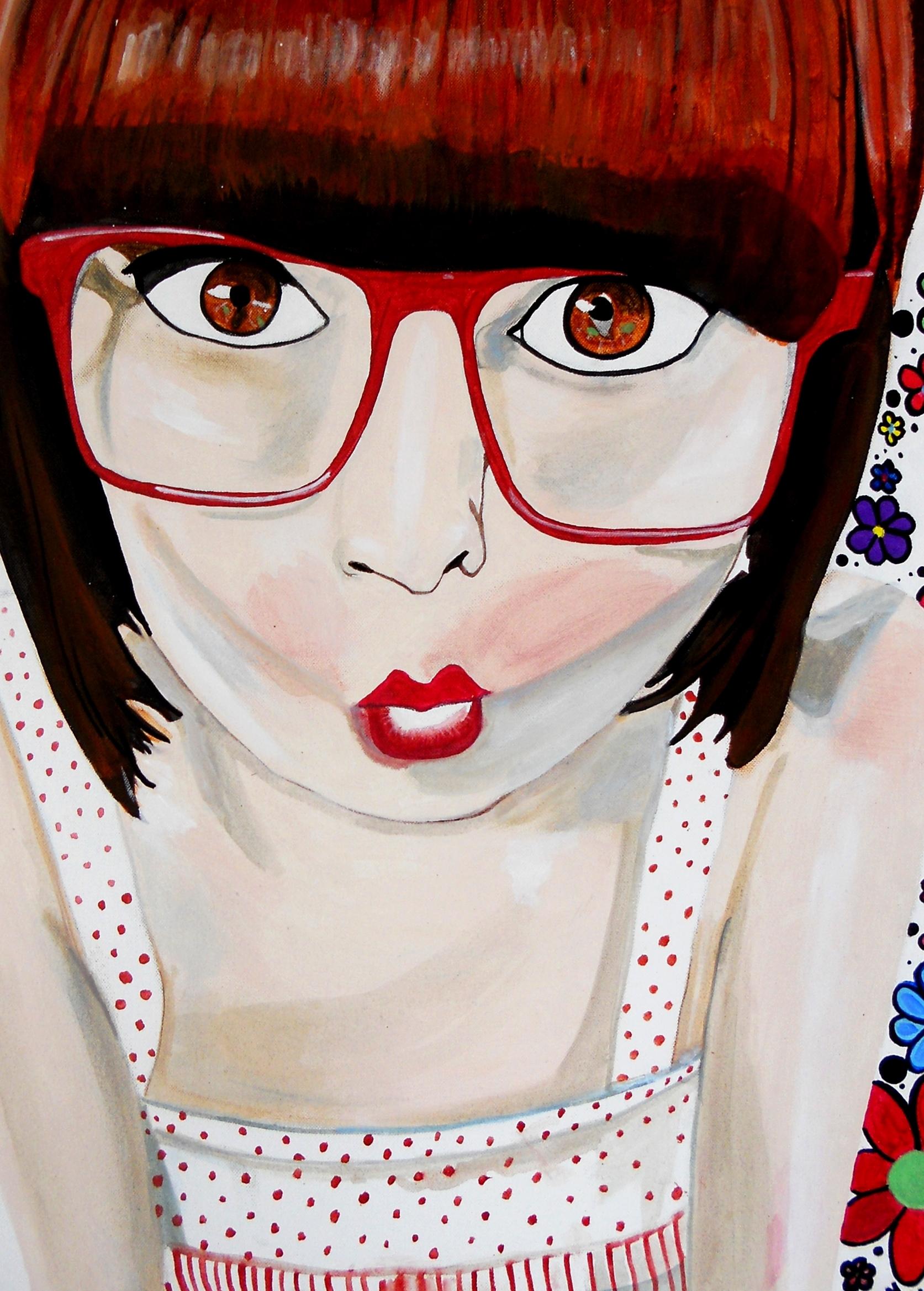 impression sur toile art contemporaon femme blanc rouge