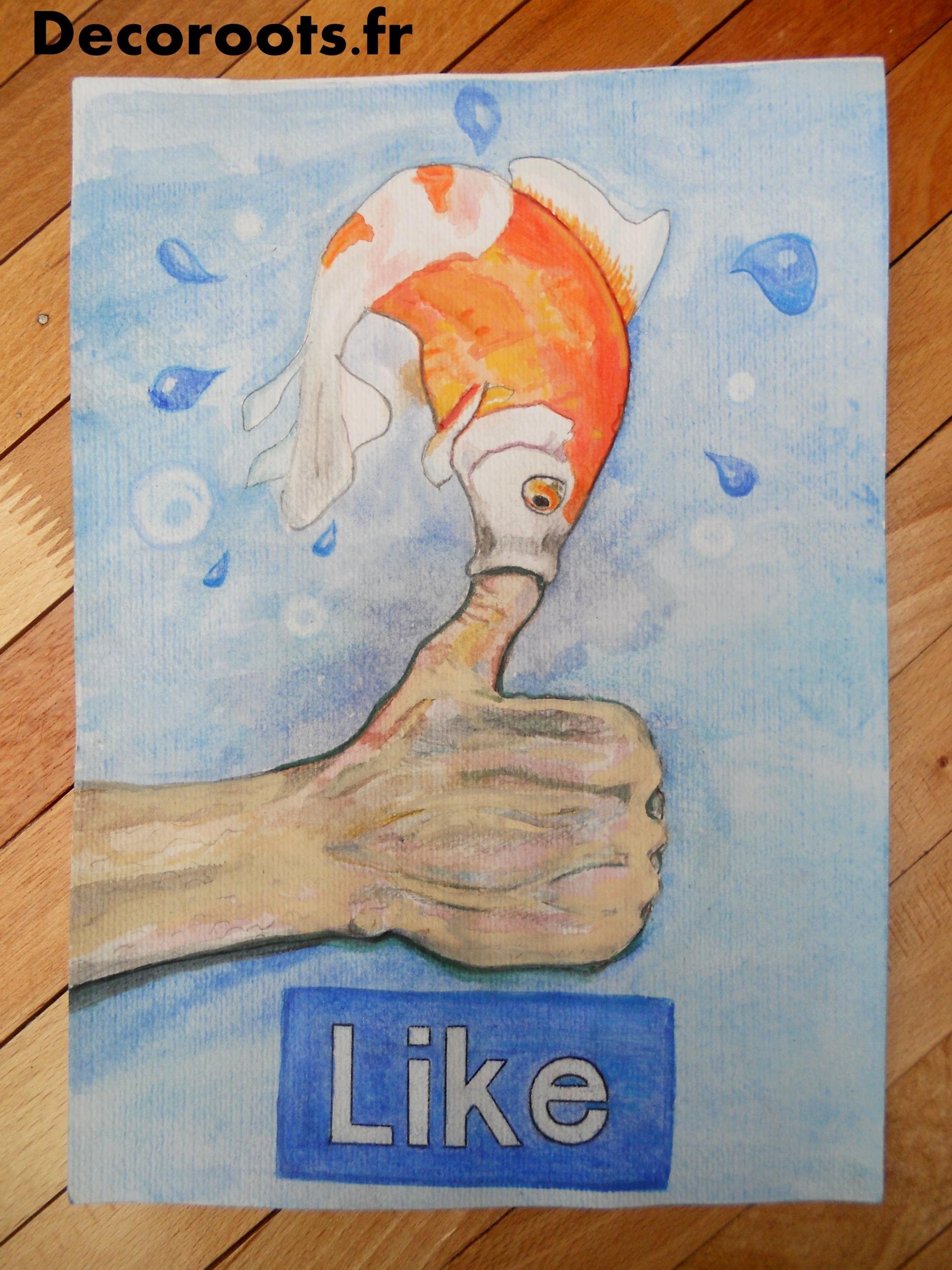 aquarelle poisson rouge pouce facebook original humour